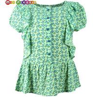 kleine mädchen beiläufige kleidung großhandel-Sommerblusen mit Rüschen für Mädchen, Spitzen, Leinen Baumwollspitze beiläufige Hemden für kleine Mädchen, Kinderkleidung, Hemden, Kleid