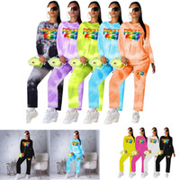 Wholesale red lips clothing online – design Women Long Sleeve Hoodie Sweatsuit Pullover and Pants Tracksuit Rainbow Lips Tie Dye Sportswear Two Piece Spring Autumn Suit Clothing C72204