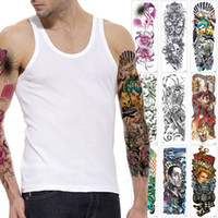 Wholesale women skull tattoos resale online - Big Large Full Arm Tattoo for Man Woman Beauty Person Geisha Skull Decal Design Waterproof Temporary Body Paint Water Transfer Tattoo Sleeve