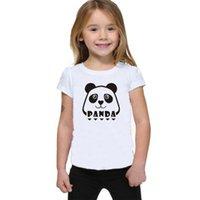 Wholesale round panda resale online - New white children s short sleeved T shirt panda pattern English print round neck shirt