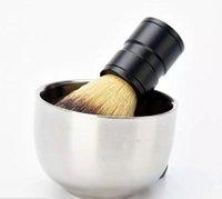 ingrosso ciotola di spazzola di rasatura-Durevole per uomo in acciaio inox Shave Soap Cup Barber Salon professionale per pennello Shinning Shaving Mug Bowl Face Care Gift