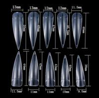 klare volle decknägel großhandel-500 STÜCKE Lange Stiletto Spitze Halbe Abdeckung Falsche Gefälschte Künstliche Nagelspitzen Art Tool für Nail art Dekoration Design (klar)
