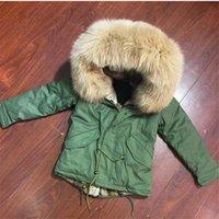мальчики толстовки зеленый оптовых-Зеленый Дети куртка для мальчиков Natural Color Real Raccoon Fur Collar Может быть съемным WIth Толстовки Parka Have Карман