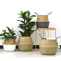 ingrosso piatto pieghevole-Cestini di bambù fatti a mano Pieghevole paglia lavanderia Patchwork Vimini rattan Seagrass Belly Garden Flower Pot Cesta Fioriera