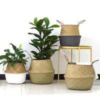bitki kutusu tasarımları toptan satış-El yapımı Bambu Saklama Sepetleri Katlanabilir Çamaşır Hasır Patchwork Hasır Rattan Seagrass Göbek Bahçe Saksı Ekici Sepet