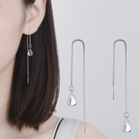 Wholesale 925 jewelry korea resale online - New Sterling Silver Long Earring Moonstone Chain Earrings For Women Female korea Jewelry Oorbellen Pendientes
