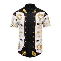 ingrosso tuxedo nero bianco oro-true reveler estate manica corta uomo classico nero bianco oro chiave stampa uomini camicie royal moda sociale smoking da sposa camicetta