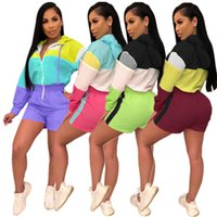 Wholesale women long sleeve rompers for sale – dress Women Jumpsuit One Piece Tracksuit Romper Long Sleeve Zipper Jacket Shorts Summer Patchwork Fashion Rompers Loose Sun Protective Coat C443