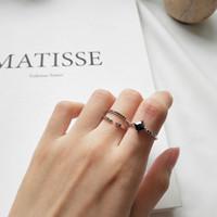 925 sterling silber knöchel ringe großhandel-Black Cubic Zirconia Pave Dainty Ring 925 Sterling Silber Knuckle Midi Fingerring Manschette Stapeln Ringe Eheringe für Frauen