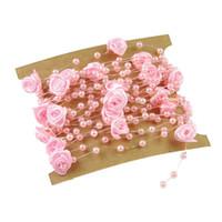 künstliche rosa rosengirlande großhandel-5 Meter Angelschnur Künstliche Perlen Blume Perlen Kette Garland Blumen Hochzeit Dekoration Rosa