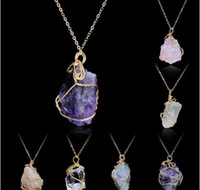 Wholesale green citrine stone resale online - Handmade Irregular Amethyst Citrine Wire Wrapped Pendant Necklace Women Natural Stone Crystal Quartz Fluorite Necklaces Jewelry GB1294