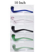 10 Inch long glass smoke hand pipe sherlock spoon mixed color bubbler water oil bong free shipping wholesale 2020 new WYK-203