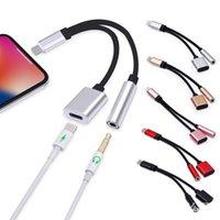 adaptateur casque pour téléphone portable achat en gros de-2 en 1 8pin à 3,5 mm Câble de charge pour adaptateur de prise casque pour téléphone xs xr xs max