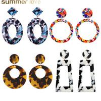 acryl-blatt-kunst großhandel-Neue Art und Weise Schildkröte Farbe Leopard-Druck-Acryl-Ohrringe Essigsäure-Blatt Geometrische Kreis-Quadrat-langer Tropfen-Ohrring für Frauen-Schmucksachen Geschenk
