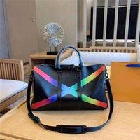 bolsas de arco-íris venda por atacado-Designer de luxo bolsa bolsa L duffle mulheres bolsa de couro genuíno arco-íris cor keepall 50 cm bolsas de duffle