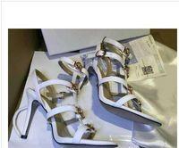 hochzeit schuhe fersen 9cm großhandel-[Original Box] Luxus Neue Medusa Womens Slingbacks Sandalen High Heel 9 CM Kleid Hochzeit Knöchelriemen Rindsleder Schuhe Größe 35-42