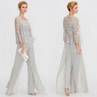 ingrosso vestito di evento-2020 Madre della Sposa Abiti da due pezzi pizzo Giacche Madri abiti per sposa Eventi pantaloni abiti abito da sera