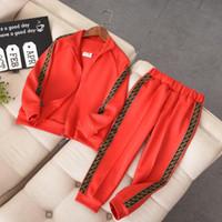 pantalones de pana roja chicos al por mayor-Ropa de diseño Kid Conjunto de lujo de la letra F F cadena de impresión del chándal de moda activos de los muchachos de las chaquetas de marca Sweatpants niñas de Student 0,01