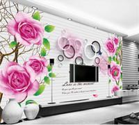 Wholesale wallpaper roses resale online - Custom Size D Photo Wallpaper Living Room Mural Rose Flowers D Circle Picture Sofa TV Backdrop Mural Home Decor Creative Hotel Wallpaper