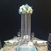 vasos de cristal para centrais venda por atacado-2020 DIY do casamento de Cristal tabela Centerpieces vaso de flor para decorar flores do casamento Decoração da vela do metal stand Walkway Decor