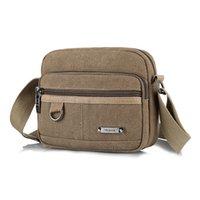 kore erkekleri için omuz çantaları toptan satış-Tuval erkekler çanta yeni omuz çantası rahat Kore spor Messenger çanta