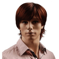 Wholesale synthetic bangs online - 8 Inch Short Hair Synthetic Wigs for Men Natural Full Reddish Brown Straight Male Wig with Bangs Heat Resistant