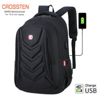 Wholesale laptop protect resale online - Crossten Swiss Multifunctional EVA Protect shell quot Laptop Backpack USB Charge Port Mochila Travel bag Waterproof Schoolbag T200326