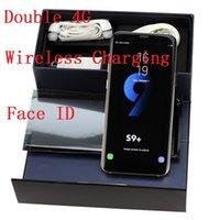 cargar 4 g al por mayor-Falsa carga inalámbrica 4G LTE 6.2 pulgadas Goophone S9 Plus Quad Core 1GB + 16GB Android 8.0MP Huella digital Cara ID teléfono inteligente