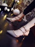 Wholesale wedding party dresses young for sale - Group buy Hot Sale Sexy nightclub style new young girl sandals with small fresh rivets pointed stiletto high heel women s shoes