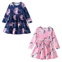 a71624063e25 Baby girls unicorn print dress INS children long sleeves princess dresses  2019 spring autumn Boutique kids Clothing C6002