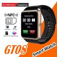 ingrosso guarda iphone sync-Bluetooth Smart Watch GT08 per iPhone IOS Telefono Android Supporto per usura da polso Sincronizzazione smart clock Sim Card PK DZ09 GV18