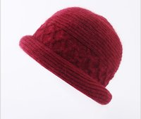 Wholesale plain earrings for sale - Group buy lady winter extra pile thick warm earring roll knit hat beret rabbit hair hat winter hat lady