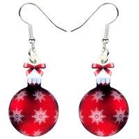 acryl kugel ohrringe großhandel-Acryl Weihnachtsschneeflocke-Kugel-Geschenk-Ohrring-Tropfen baumeln Navidad Set-Schmucksachen für Frauen-Mädchen-Ornamente Charms Neujahr