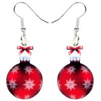 akrilik bilyalı küpeler toptan satış-Kadınlar Kızlar Süsler Charms Yeni Yıl İçin Akrilik Noel kar tanesi Topu Hediye Küpe Bırak Dangle Navidad Seti Takı