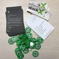 etiquetas de ventas al por mayor-2019 StockX OG Código QR Etiqueta Etiqueta Verde Circular Hebilla de Zapatos de Plástico StockX Verificado X Etiqueta Verde Auténtica Venta Caliente