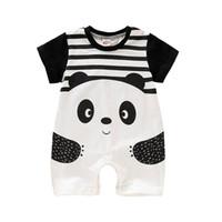 menina panda vestido venda por atacado-2019 Suit Verão Novo Estilo manga curta dos desenhos animados Panda Girls Dress Romper do bebê recém-nascido corpo do bebê pijama meninos macacãozinho 86