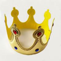 ingrosso regina abito elegante-Gold Crown Re Regina Principessa del vestito operato accessori regolabili Props figli adulti del partito di Cosplay Cappelli Bambini