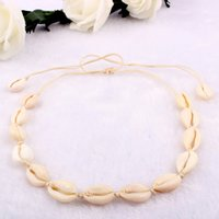Wholesale natural pearl shell pendant resale online - Fashion Woman Natural Shell Necklace Charm Pendant Jewelry Hawaiian Style Handmade Rope Pearl Seashell Short Clavicle Choker Necklace M56Y