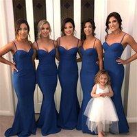 lacivert gelin tasarımcısı toptan satış-Lacivert Mermaid Nedime Elbiseler Basit Tasarlanmış Mermaid Spagetti Askı Onur Hizmetçi Törenlerinde Ucuz Artı Boyutu