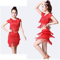 ingrosso abiti da ballo latino di sequin ballroom-Vestito da ballo latino per donne Ballroom Sumba Tango Dance Gonna latina Costumi Lady Dress Rumba Qia Qia Sequin