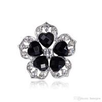 ingrosso fiore nera di cristallo spilla-Spille Spilla stile retrò grande cristallo nero Spilla elegantemente colorata di fiori neri Spille spilla di cristallo Spille di strass