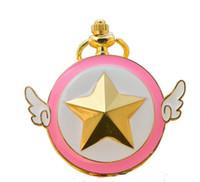 ingrosso collana di bronzo angelo delle ali-Ali d'angelo cambiano Sakura Pocket Watch Bronzo pendente ciondoli collana Fob quarzo Orologi gioielli di moda Drop Shipping