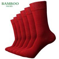 ingrosso calze anti-batteriche-man match-up degli uomini di bambù Red Socks traspirante antibatterico vestito da affari dei calzini (6 accoppiamenti / lotto)