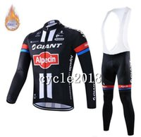 Wholesale giant long sleeve fleece cycling jersey resale online - FELT GIANT team Cycling Winter Thermal Fleece jersey bib pants sets Polyester Long sleeve clothes Outdoors Sports Bicycle clothing mens