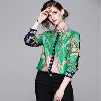 blusa con cuello alto de encaje negro al por mayor-2019 New Runway Autumn Fashion Vintage Print Blusas Camisa Elegante Blusa de gasa de manga larga Mujeres Casual Ropa de trabajo suelta Tops