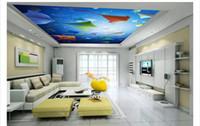 vinyl 3d decke großhandel-Custom 3D große Seide Decke Wandbild Fototapete Einfache Atmosphäre Himmel Drachen Wohnzimmer Zenith Decke Wandbild Innendekoration