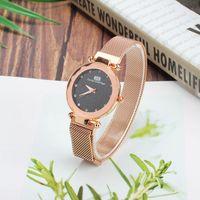 Wholesale magnets for sale resale online - Hot Sale Watches For Women Rose Gold Mesh Magnet Buckle Starry Quartz Watch Geometric Surface Casual Montre Femme
