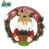 Wholesale santa puppets resale online - Santa Claus Snowman Doll Puppets Christmas Wreath Rattan Pendant Garland Home Party Festive Christmas Tree Door Wall Decoration