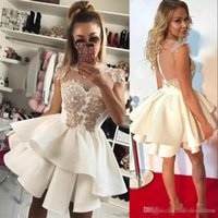 Wholesale white strapless cocktail length dress for sale - Group buy Modest Crew Tiers Homecoming Dresses Satin Applique Arabic Bridesmaid Cheap Short Prom Dress Cocktail Party Club Wear Graduation Gowns