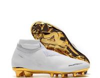 cr7 yeni futbol ayakkabıları toptan satış-Yeni Beyaz Altın Toptan Futbol Cleats Ronaldo CR7 Orijinal Futbol Ayakkabıları Phantom VSN Elite DF FG Futbol Çizmeler